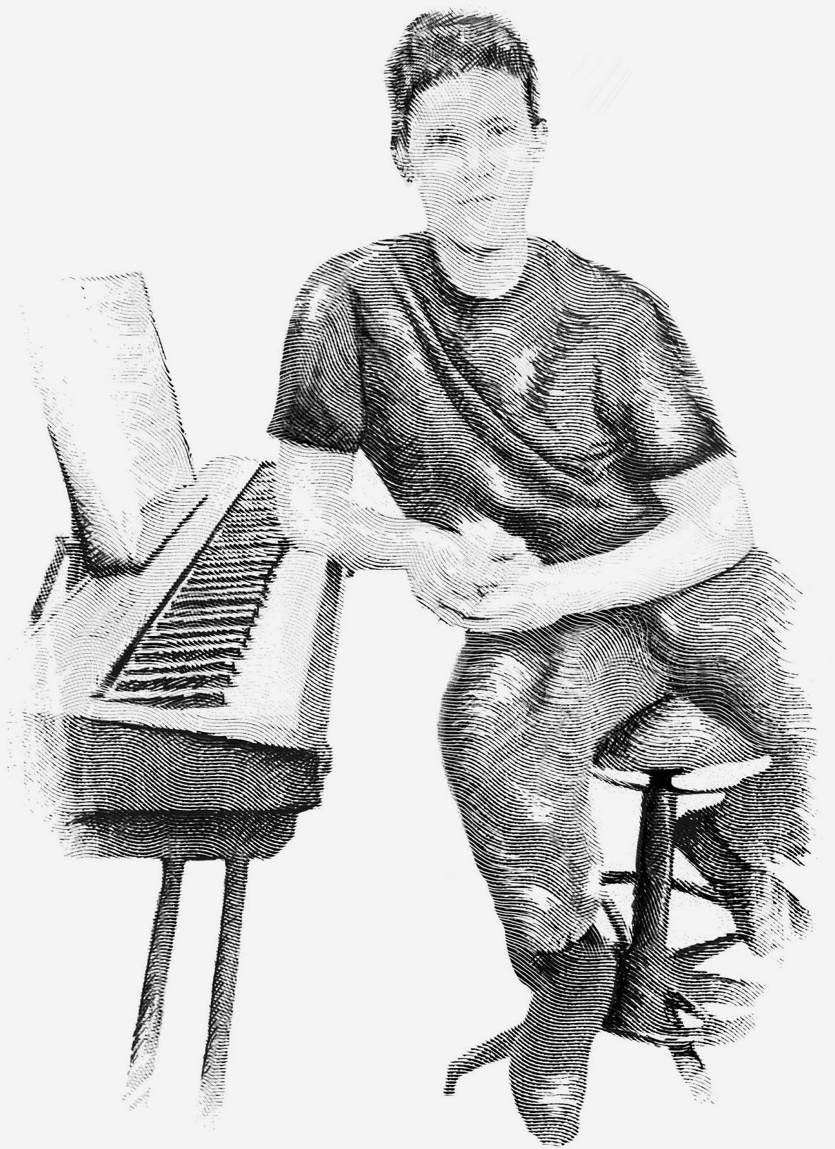 Antique illustration of Blake Condon with piano